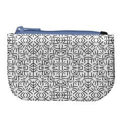 Black And White Ethnic Geometric Pattern Large Coin Purse