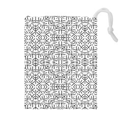 Black And White Ethnic Geometric Pattern Drawstring Pouches (extra Large)