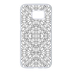 Black And White Ethnic Geometric Pattern Samsung Galaxy S7 Edge White Seamless Case
