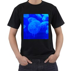 Blue Jellyfish 1 Men s T Shirt (black) (two Sided)