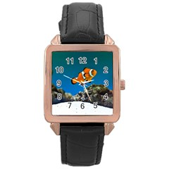 Clownfish 1 Rose Gold Leather Watch