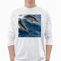 Dolphin 4 White Long Sleeve T Shirts