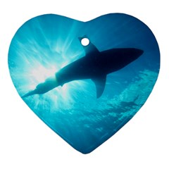 Great White Shark 6 Heart Ornament (two Sides)