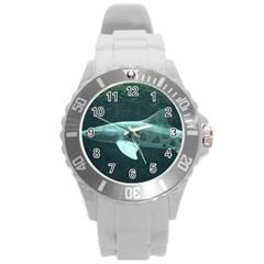 Leopard Shark Round Plastic Sport Watch (l)