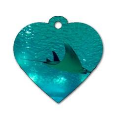 Manta Ray 1 Dog Tag Heart (two Sides)