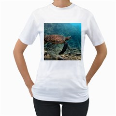 Sea Turtle 3 Women s T Shirt (white) (two Sided)