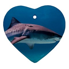 Tiger Shark 1 Heart Ornament (two Sides)