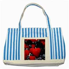 Berries 1 Striped Blue Tote Bag