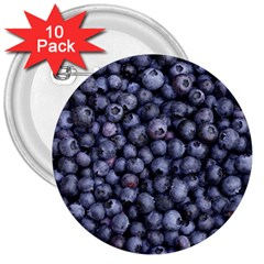 Blueberries 3 3  Buttons (10 Pack)