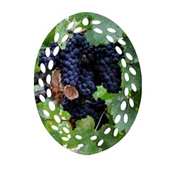 Grapes 3 Oval Filigree Ornament (two Sides)