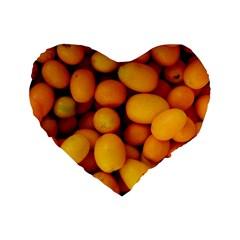 Kumquat 1 Standard 16  Premium Flano Heart Shape Cushions