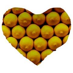 Lemons 1 Large 19  Premium Flano Heart Shape Cushions