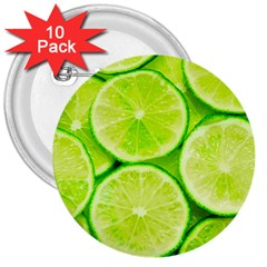 Limes 3 3  Buttons (10 Pack)