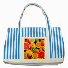 Mixed Fruit 1 Striped Blue Tote Bag