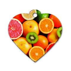 Mixed Fruit 1 Dog Tag Heart (one Side)