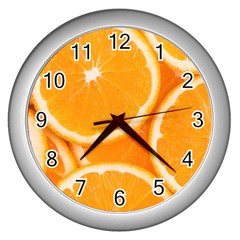Oranges 4 Wall Clocks (silver)