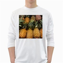 Pineapple 1 White Long Sleeve T Shirts