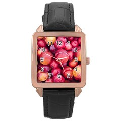 Plums 1 Rose Gold Leather Watch