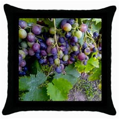 Grapes 2 Throw Pillow Case (black)