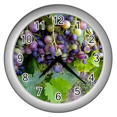 Grapes 2 Wall Clocks (silver)