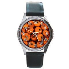 Pumpkins 2 Round Metal Watch