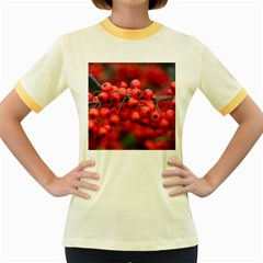 Red Berries 1 Women s Fitted Ringer T Shirts
