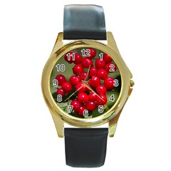 Red Berries 2 Round Gold Metal Watch