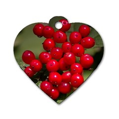 Red Berries 2 Dog Tag Heart (one Side)