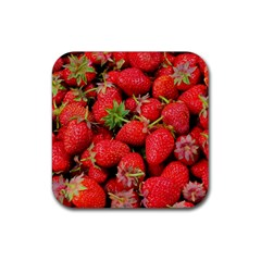 Strawberries 1 Rubber Square Coaster (4 Pack)