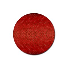Strawberries 2 Rubber Round Coaster (4 Pack)
