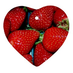 Strawberries 3 Heart Ornament (two Sides)