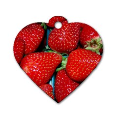 Strawberries 3 Dog Tag Heart (two Sides)