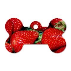 Strawberries 3 Dog Tag Bone (one Side)