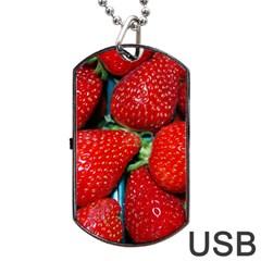 Strawberries 3 Dog Tag Usb Flash (two Sides)