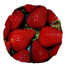 Strawberries 3 Large 18  Premium Flano Round Cushions
