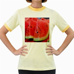 Watermelon 1 Women s Fitted Ringer T Shirts