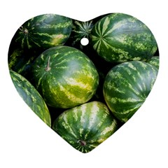 Watermelon 2 Heart Ornament (two Sides)