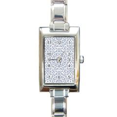Radial Mandala Ornate Pattern Rectangle Italian Charm Watch