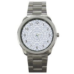 Radial Mandala Ornate Pattern Sport Metal Watch