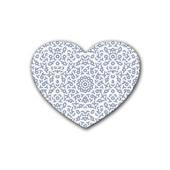 Radial Mandala Ornate Pattern Rubber Coaster (heart)