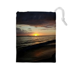 Sunset On Rincon Puerto Rico Drawstring Pouches (large)