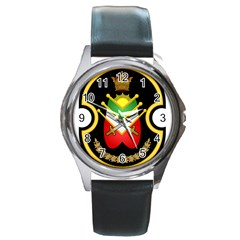 Shield Of The Imperial Iranian Ground Force Round Metal Watch