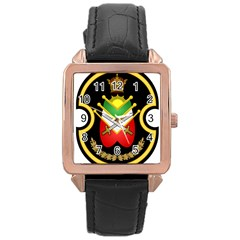 Shield Of The Imperial Iranian Ground Force Rose Gold Leather Watch