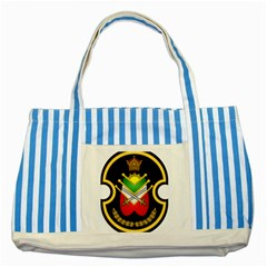 Shield Of The Imperial Iranian Ground Force Striped Blue Tote Bag