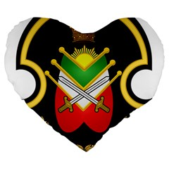 Shield Of The Imperial Iranian Ground Force Large 19  Premium Flano Heart Shape Cushions