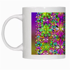 Flower Wall With Wonderful Colors And Bloom White Mugs