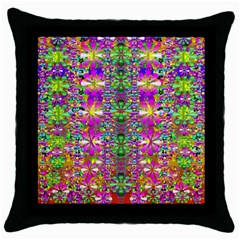 Flower Wall With Wonderful Colors And Bloom Throw Pillow Case (black)