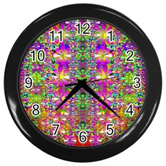 Flower Wall With Wonderful Colors And Bloom Wall Clocks (black)