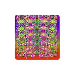Flower Wall With Wonderful Colors And Bloom Square Magnet