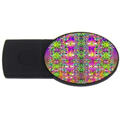 Flower Wall With Wonderful Colors And Bloom Usb Flash Drive Oval (2 Gb)